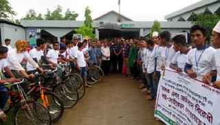 কমলগঞ্জে জঙ্গিবাদ ও মাদক বিরোধী সাইকেল র্যালি