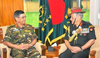 সেনাবাহিনী প্রধানের সঙ্গে ভারতীয় সেনা প্রধানের সাক্ষাৎ
