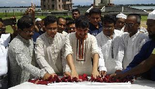 তাহিরপুরে নীলাদ্রি ডিসি পার্কের ভিত্তিপ্রস্থর স্থাপন