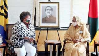 বার্বাডোজের প্রধানমন্ত্রীর সঙ্গে শেখ হাসিনার সৌজন্য সাক্ষাৎ