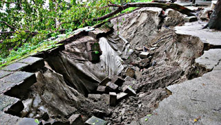ময়মনসিংহ শহররক্ষা বাঁধে ভাঙ্গন, হুমকিতে জয়নুল উদ্যান