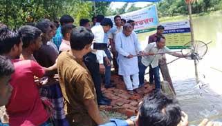 কমলগঞ্জে মৎস্য অধিদপ্তরের উদ্যোগে মাছের পোণা অবমুক্ত