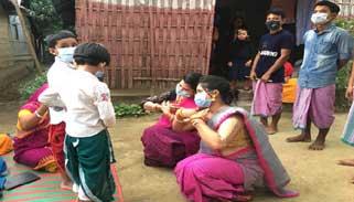 কমলগঞ্জে সোমবারমণিপুরী মহারাসলীলা: নাচেরপূর্ব প্রস্তুতি সম্পন্ন