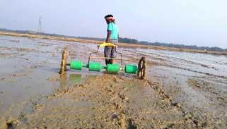 কুমিল্লায় কৃষকদের ড্রাম সিডার পদ্ধতিতে ধান চাষে আগ্রহ বাড়ছে