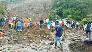 কলম্বিয়ায় ভূমিধসে ১৯ জনের প্রাণহানি